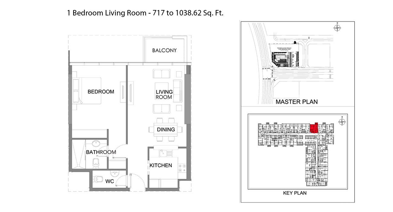 1 Bedroom Size - 717.09 to 1038.62 sq ft
