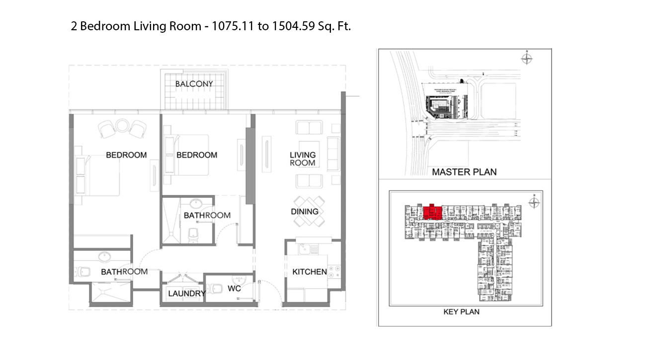 2 Bedroom Size - 1075.11 to 1504.59 sq ft