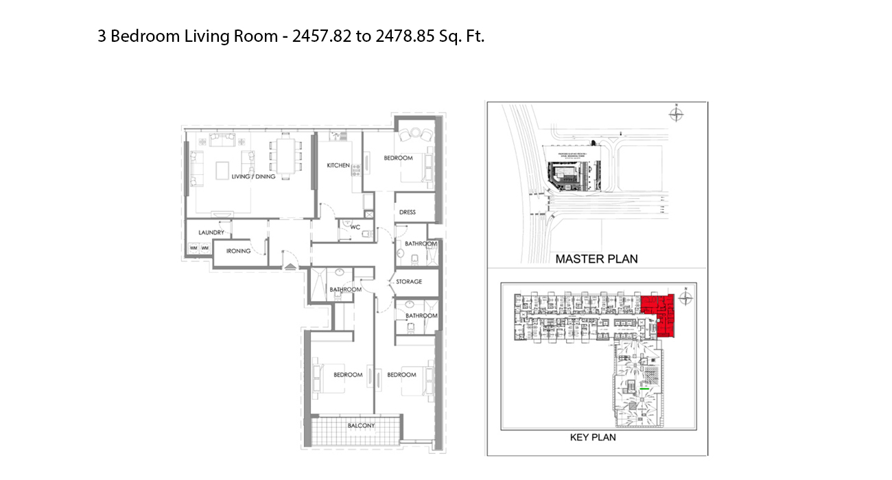 3 Bedroom Size – 2457.82 - 2478.85 sq ft