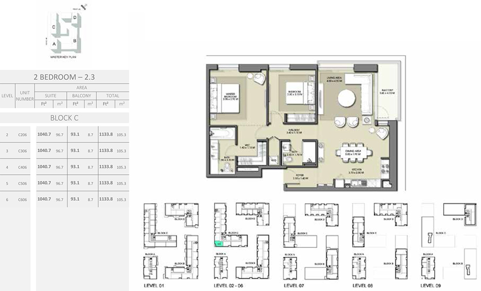 2 Bedroom - Size 1133.8 sq ft