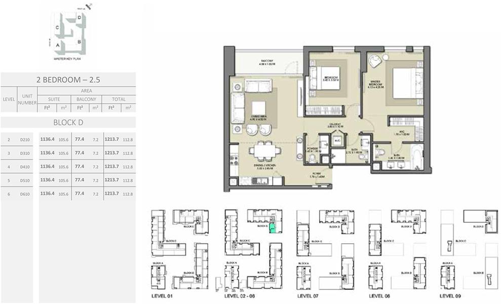 2 Bedroom - Size 1213.7 sq ft