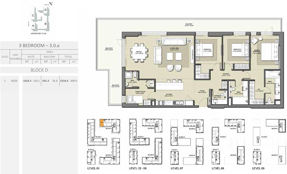3 Bedroom - Size 2259.8 sq ft