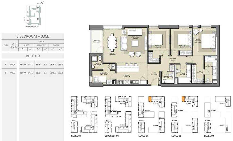 3 Bedroom - Size 1649.2 sq ft