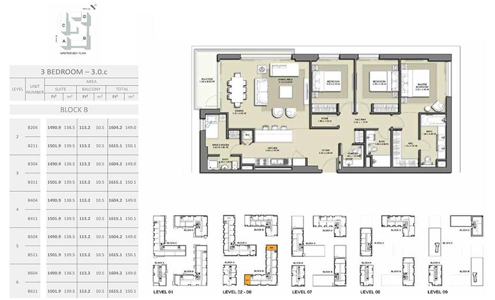 3 Bedroom - Size 1615.1 sq ft