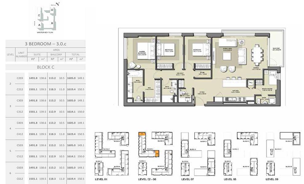 3 Bedroom - Size 1619.4 sq ft