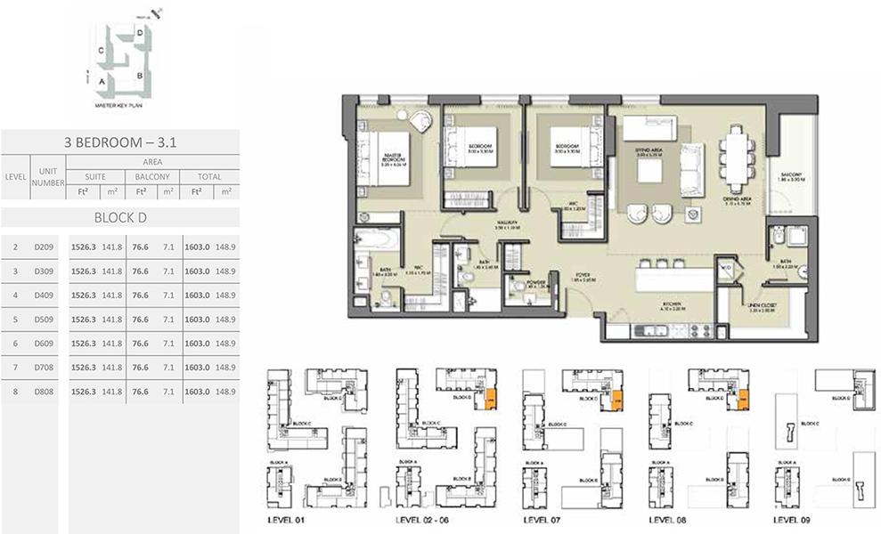 3 Bedroom - Size 1603.0 sq ft