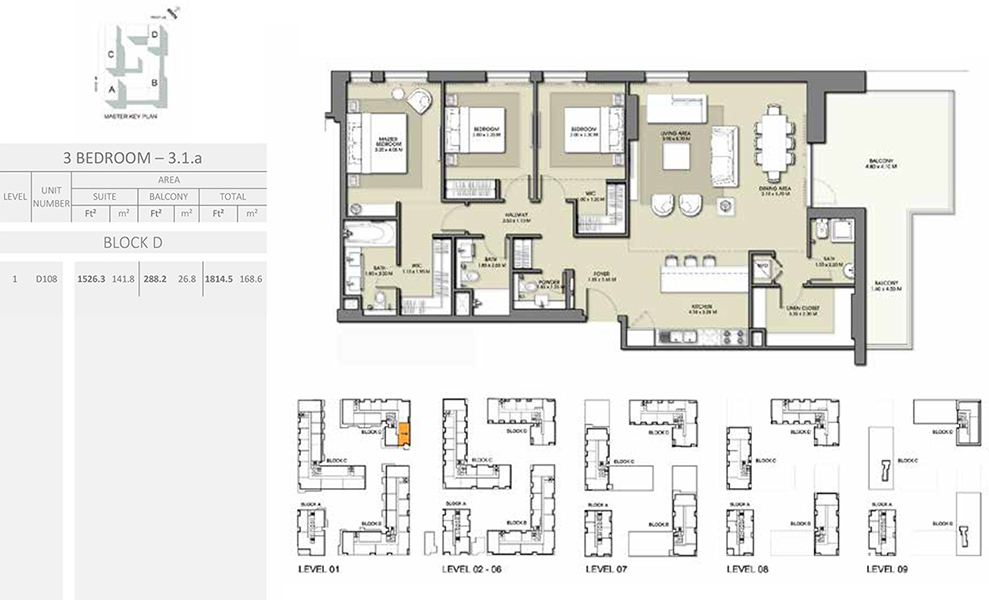 3 Bedroom - Size 1814.5 sq ft