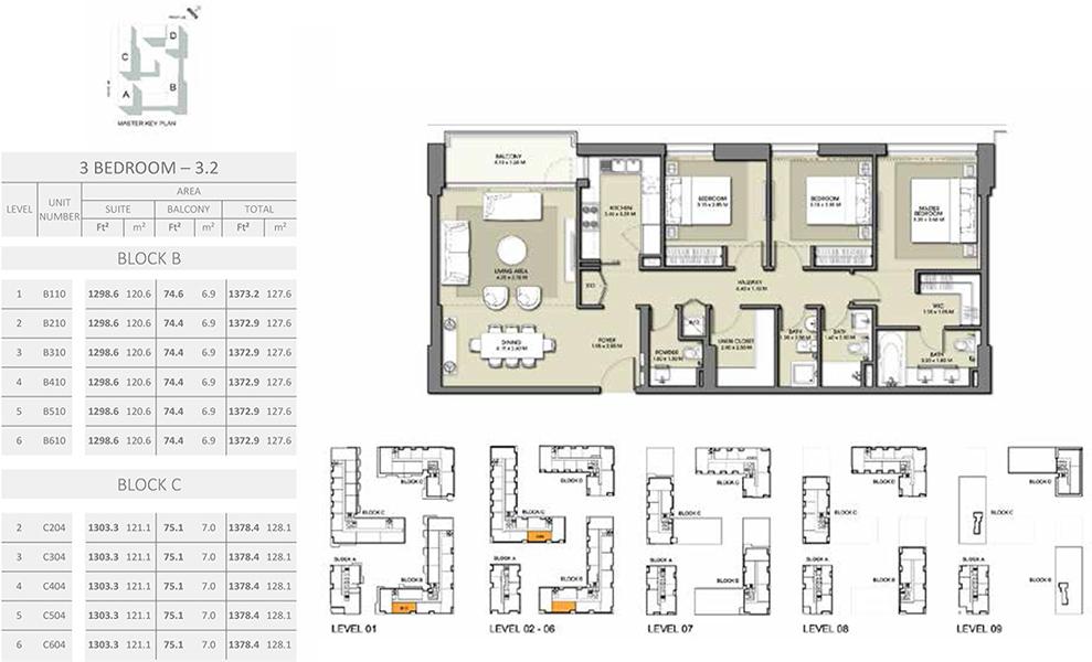 3 Bedroom - Size 1378.4 sq ft