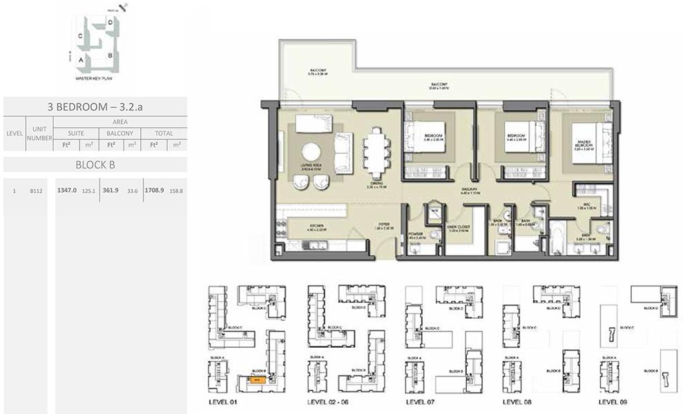 3 Bedroom - Size 1708.9 sq ft