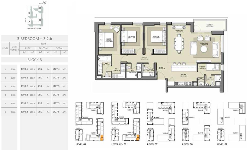 3 Bedroom - Size 1477.5 sq ft