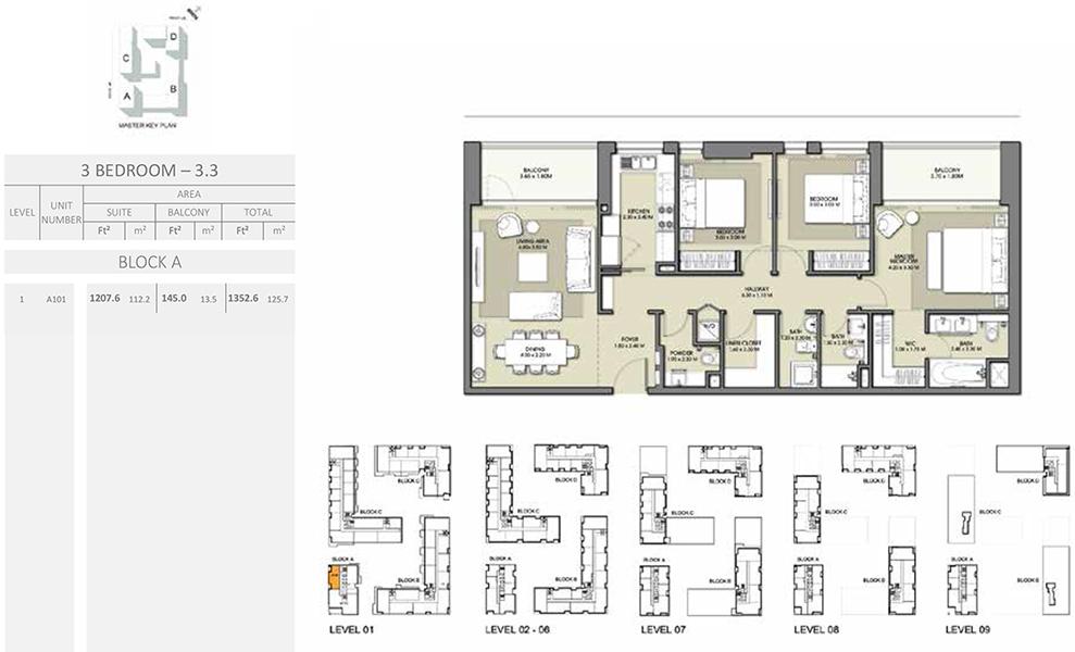 3 Bedroom - Size 1352.6 sq ft