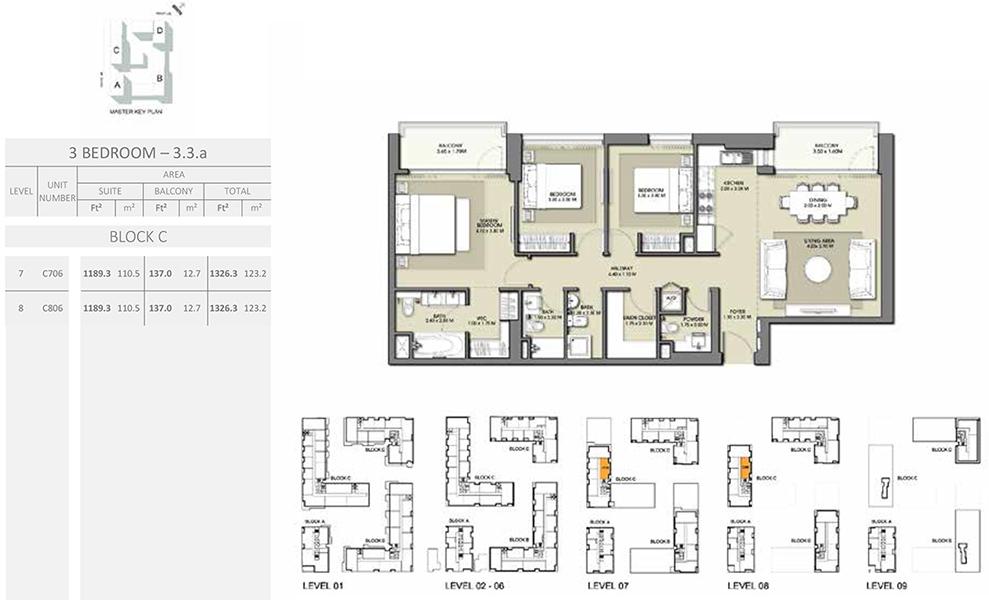 3 Bedroom - Size 1326.3 sq ft