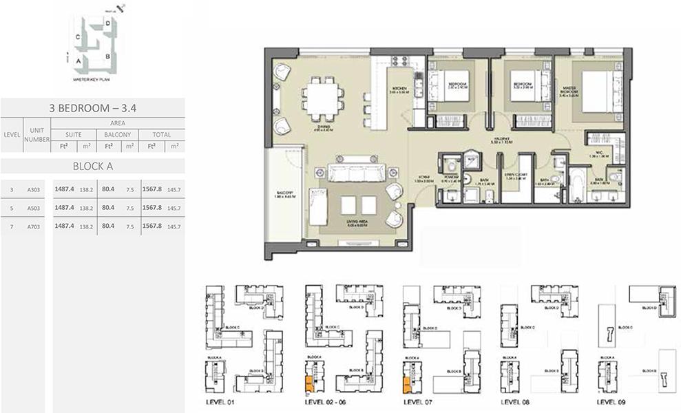 3 Bedroom - Size 1567.8 sq ft