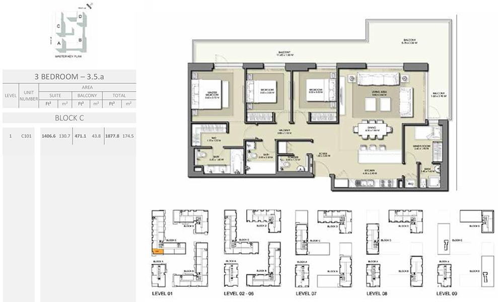 3 Bedroom - Size 1877.8 sq ft