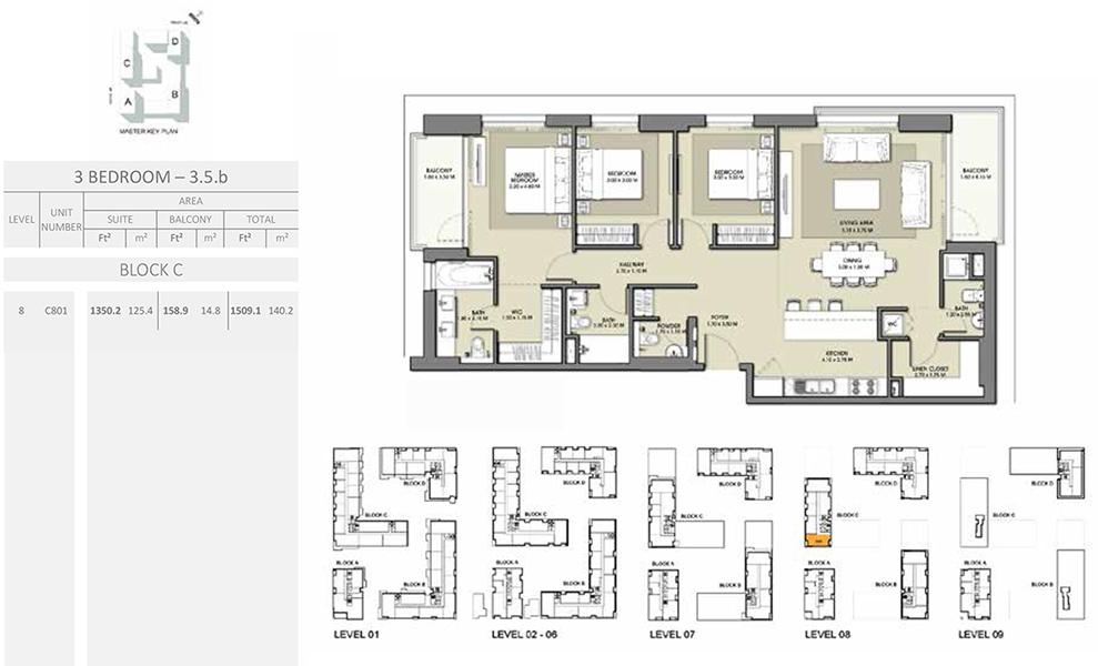 3 Bedroom - Size 1509.1 sq ft
