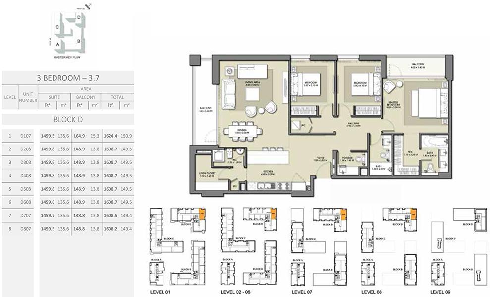 3 Bedroom - Size 1624.4 sq ft