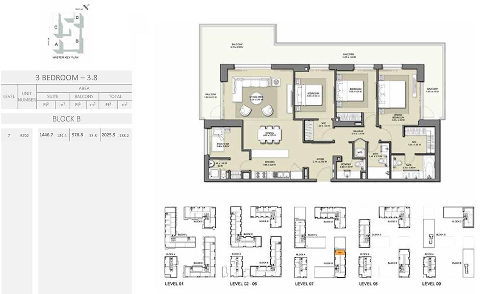 3 Bedroom - Size 2025.5 sq ft