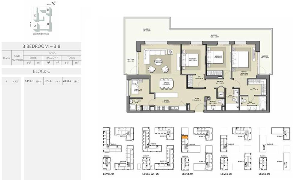 3 Bedroom - Size 2030.7 sq ft
