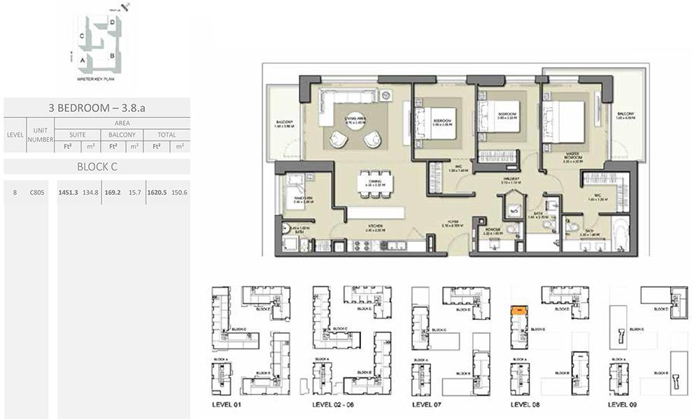 3 Bedroom - Size 1620.5 sq ft
