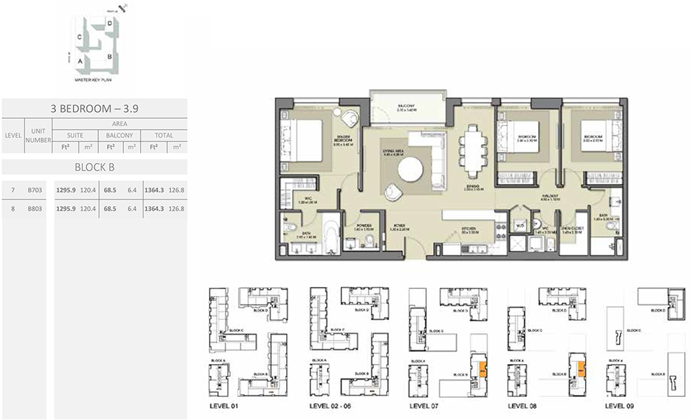 3 Bedroom - Size 1364.3 sq ft