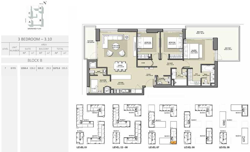 3 Bedroom - Size 1673.6 sq ft