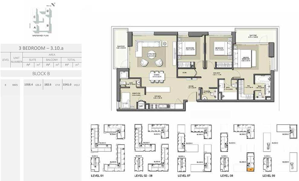 3 Bedroom - Size 1541.0 sq ft