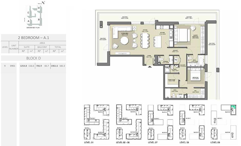 2 Bedroom - Size 1961.6 sq ft