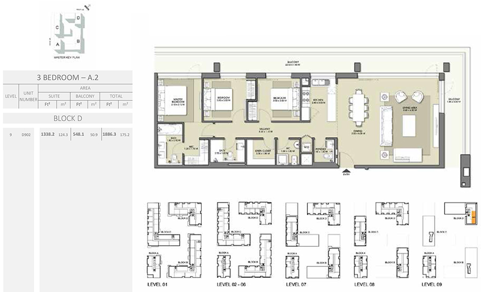 3 Bedroom - Size 1886.3 sq ft
