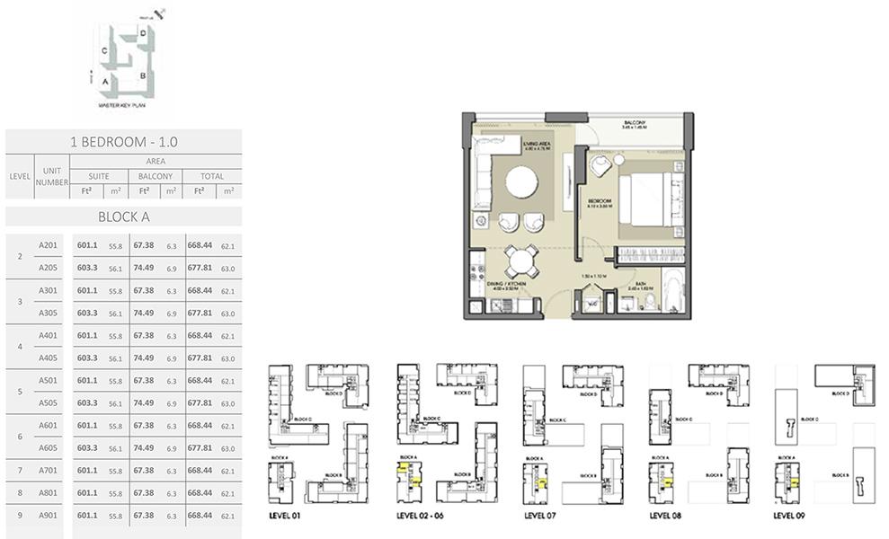 1 Bedroom -  Size  677.81 sq ft
