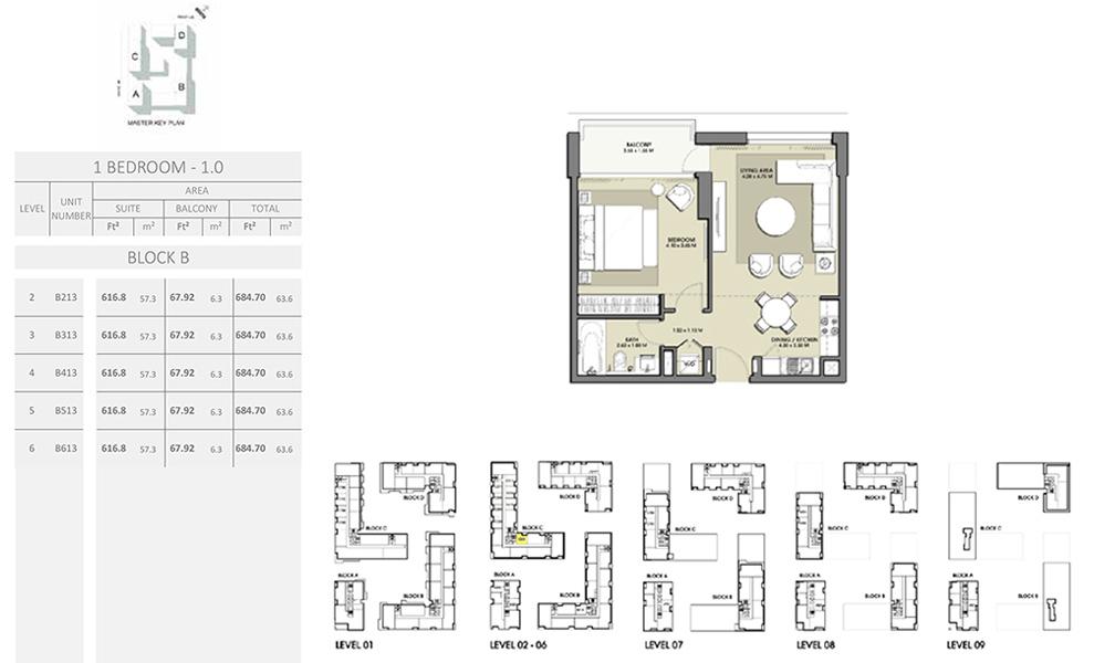 1 Bedroom - Size 684.70 sq ft