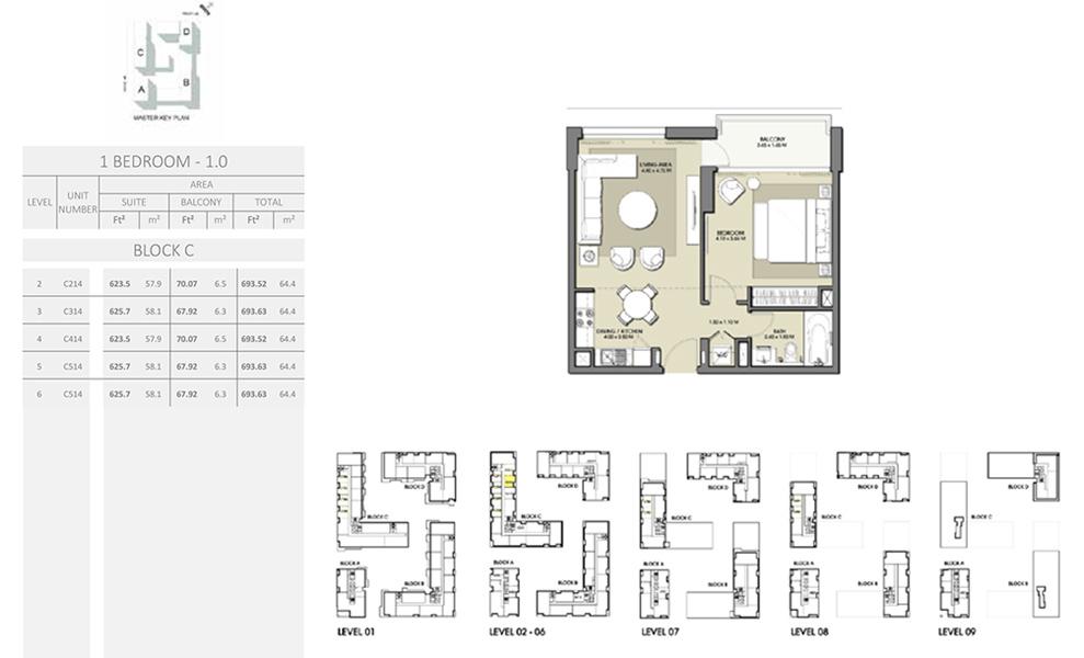 1 Bedroom - Size 693.63 sq ft