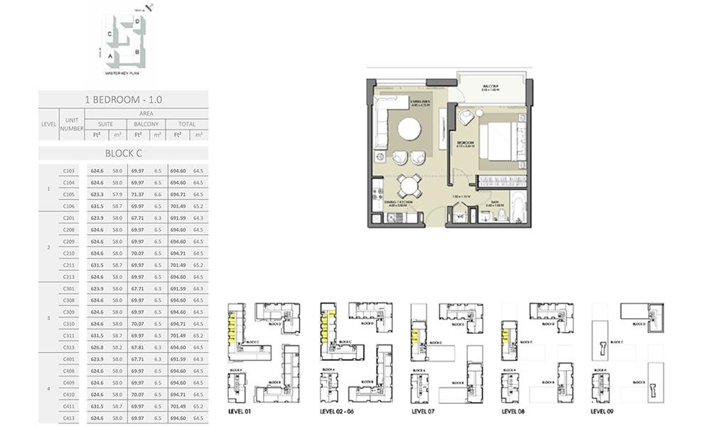 1 Bedroom - Size 701.49 sq ft