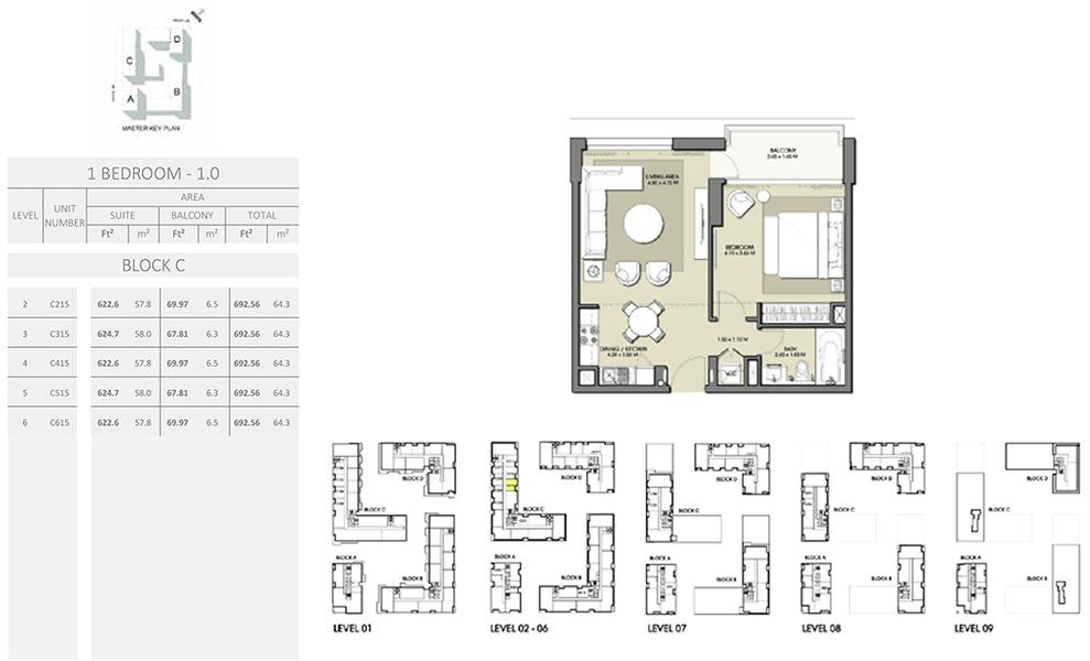 1 Bedroom - Size 692.56 sq ft