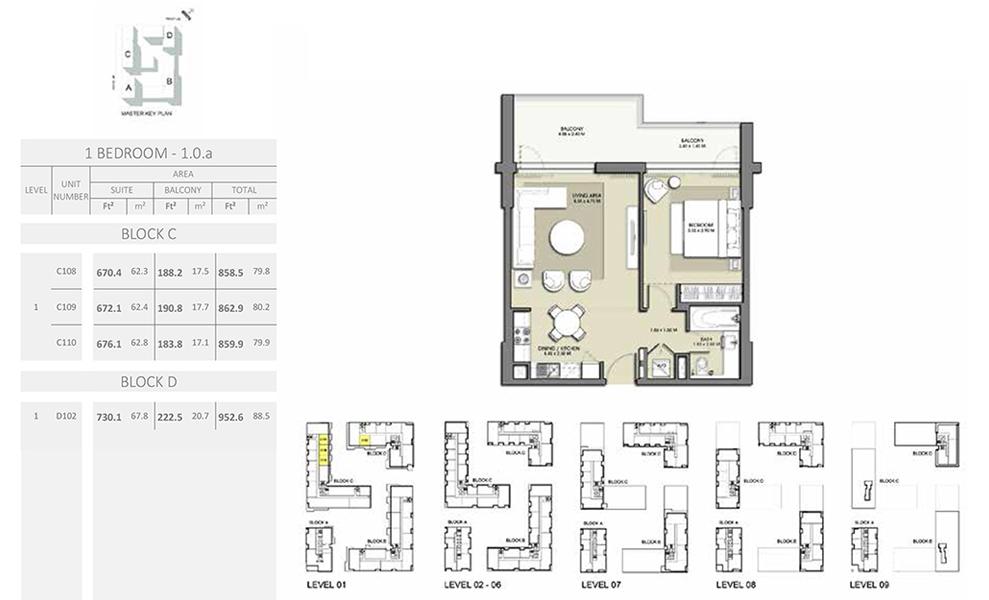 1 Bedroom - Size 952.6 sq ft