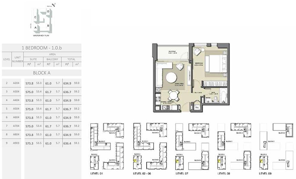 1 Bedroom - Size 636.7 sq ft