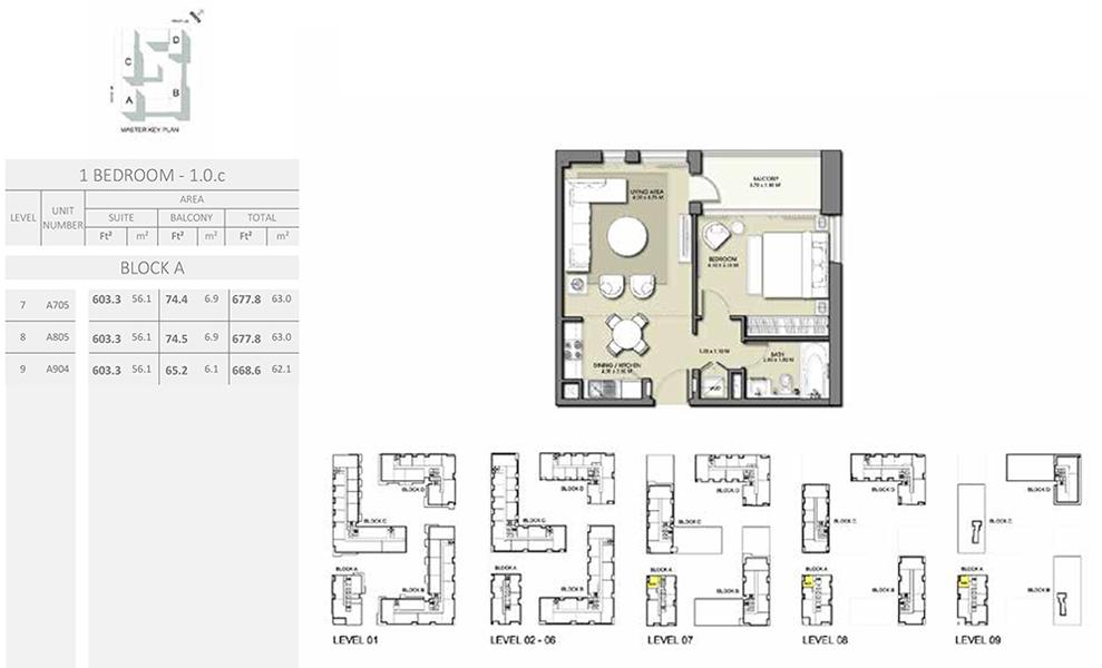 1 Bedroom - Size 677.8 sq ft