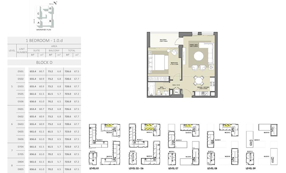 1 Bedroom - Size 728.6 sq ft