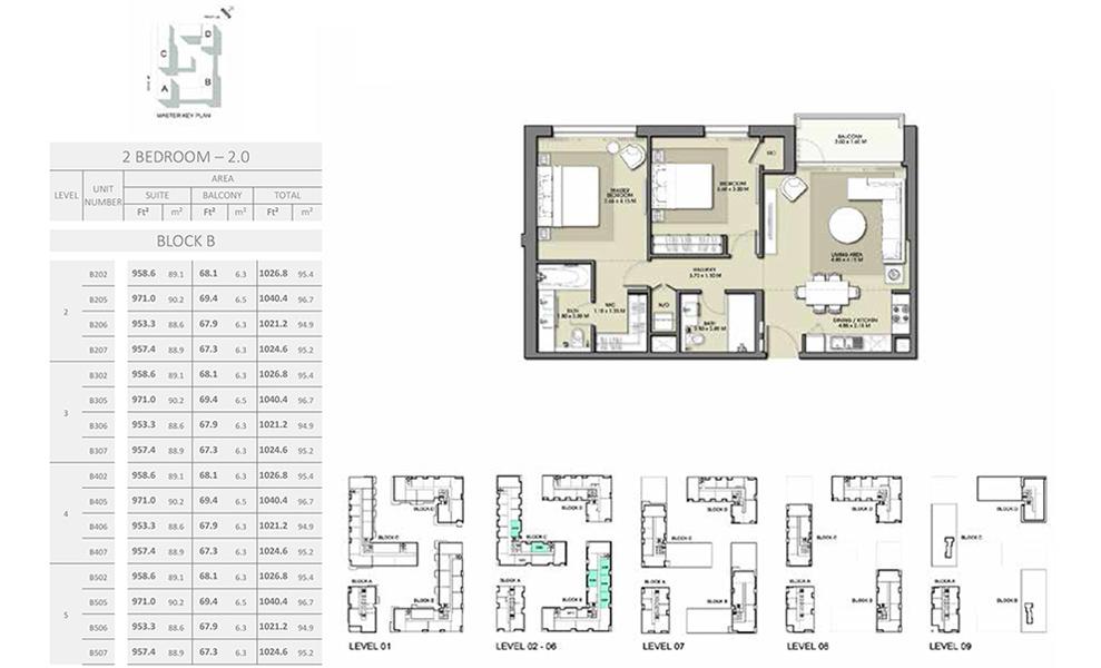 2 Bedroom - Size 1040.4 sq ft