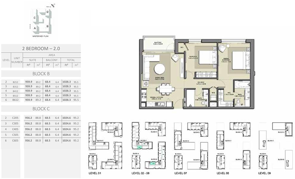 2 Bedroom - Size 1028.3 sq ft