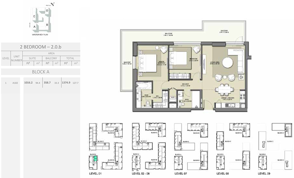 2 Bedroom - Size 1374.9 sq ft