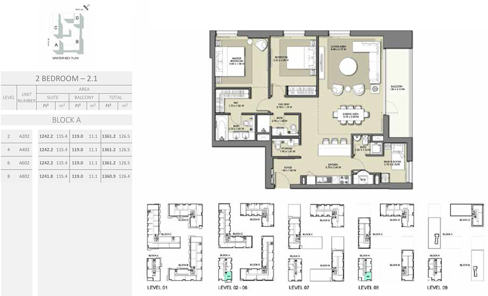 2 Bedroom - Size 1361.2 sq ft