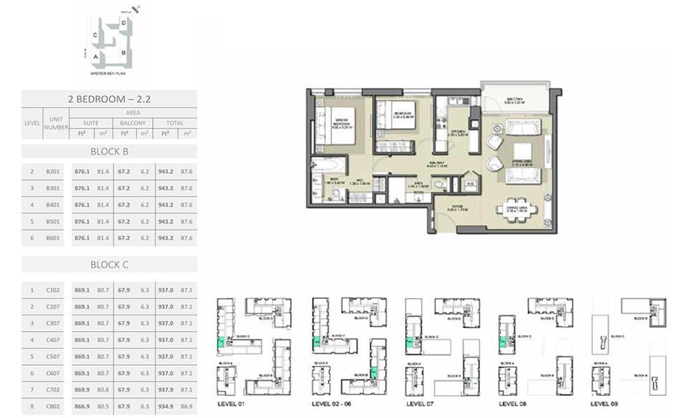 2 Bedroom - Size 943.2 sq ft