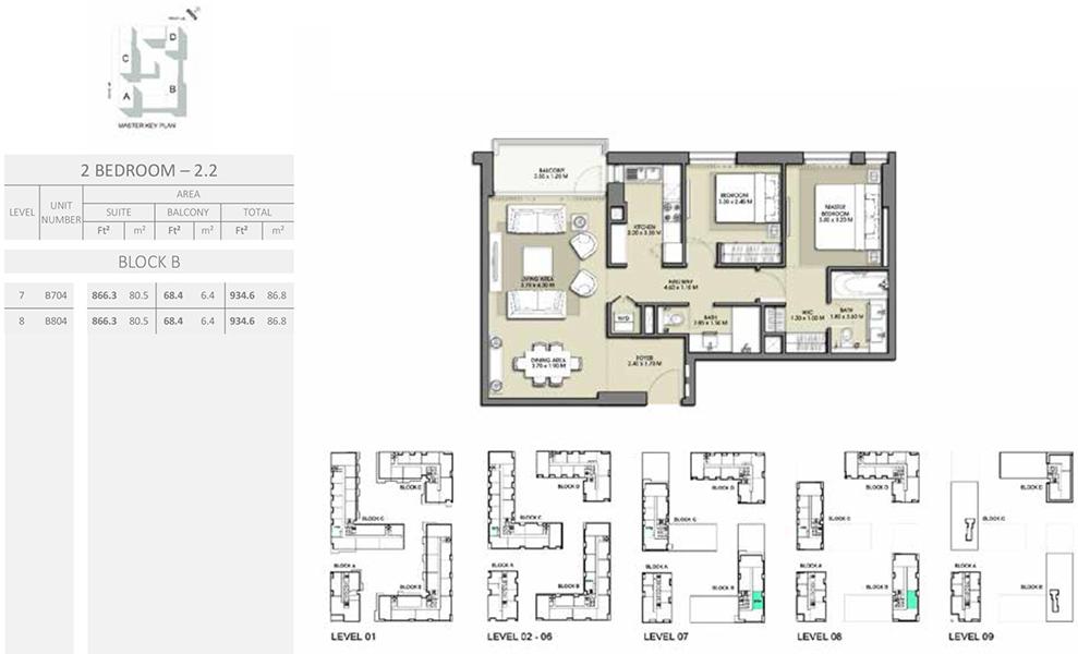2 Bedroom - Size 934.6 sq ft