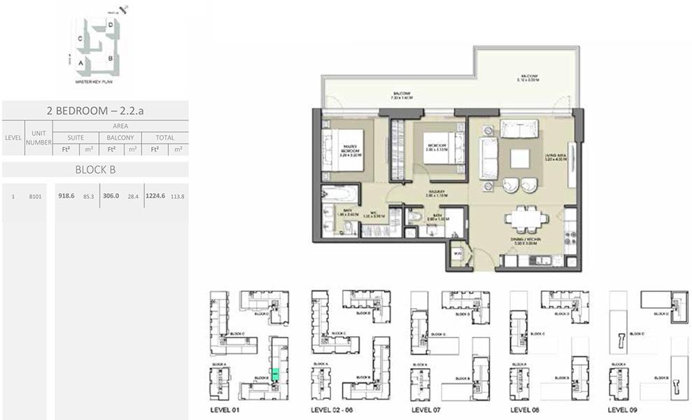 2 Bedroom - Size 1224.6 sq ft