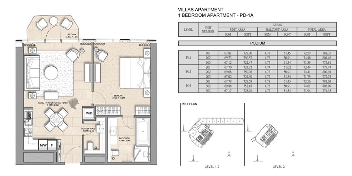 Villa-Apartment-1 bed-PD-1A