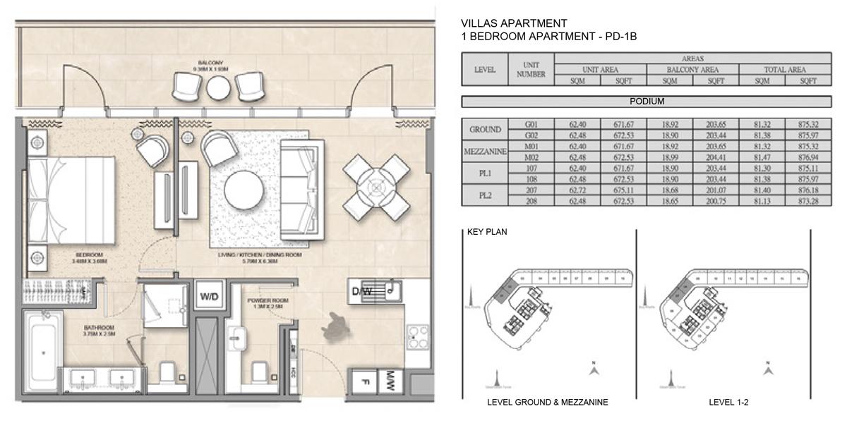 Villas-Apartment-1 Bed-PD-1B