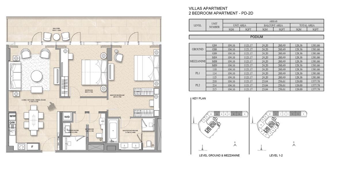 Villa-Apartment-2 bed-PD-2D