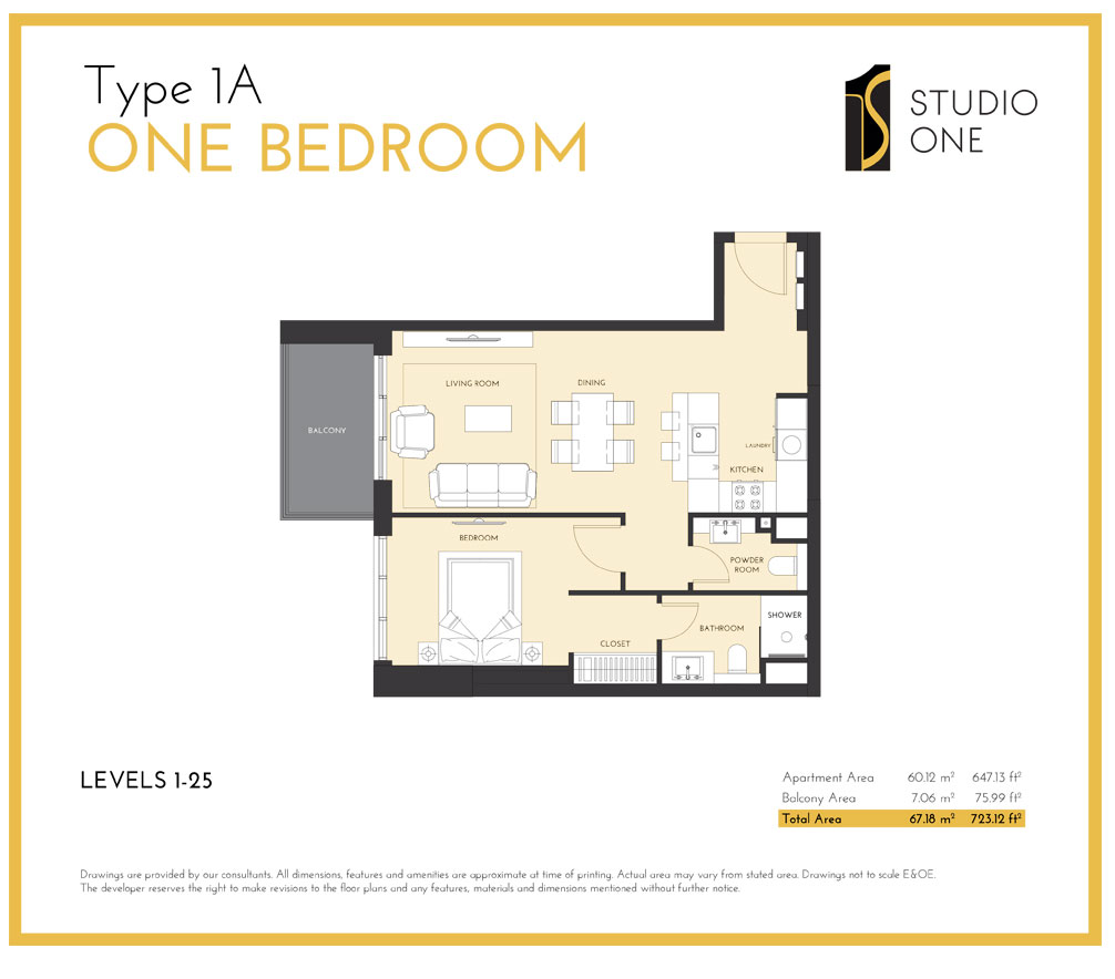 Type-1A One Bedroom
