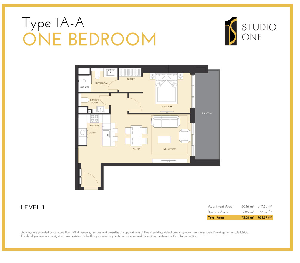 Type-1A-A One Bedroom