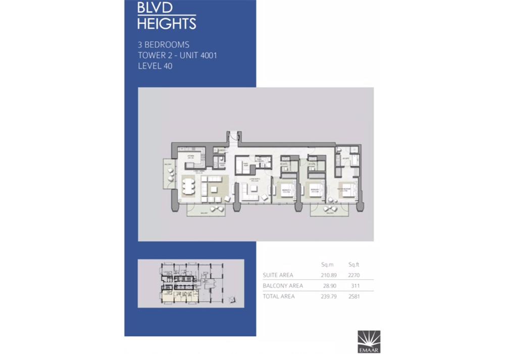 3 Bedroom Apartments, Tower 2, L 40